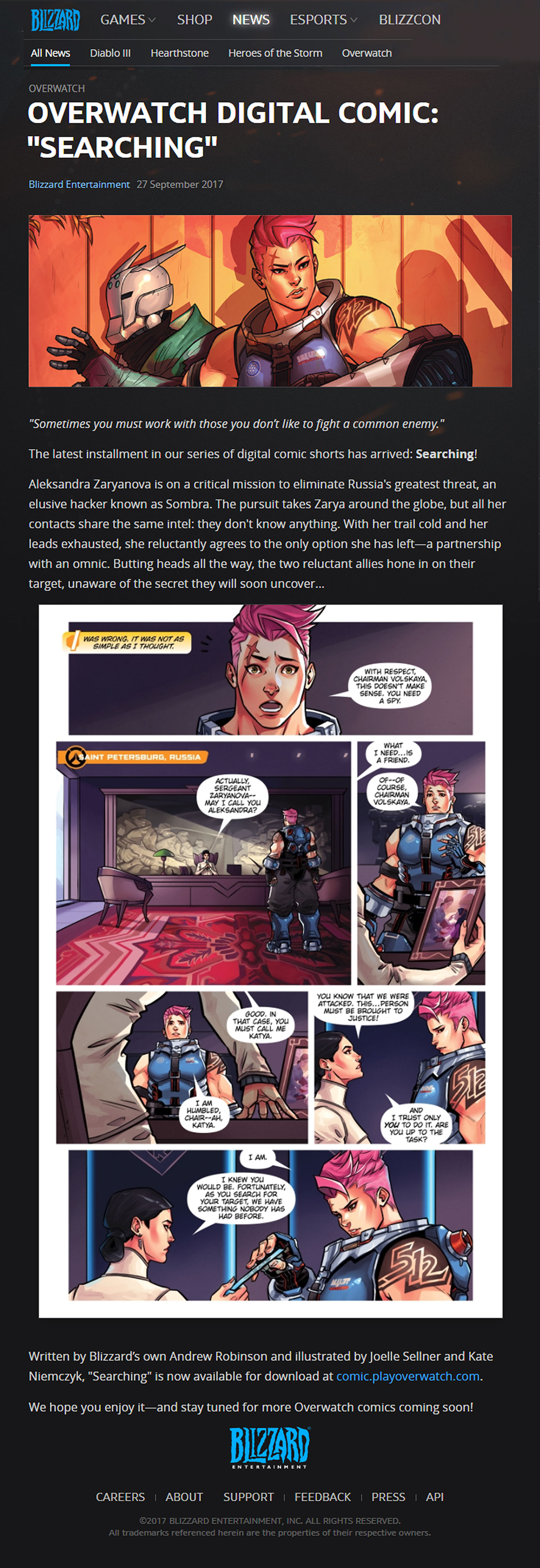 Aleksandra Overwatch joelle sellner online portfolio - graphic novel - overwatch